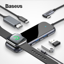 Baseus USB C HUB to USB 3.0 HDMI RJ45 Adapter for MacBook Pro Air Multi Type C HUB with Wireless Charge for iWatch USB-C HUB солнечная м рецепты для диабетиков готовим в мультиварке