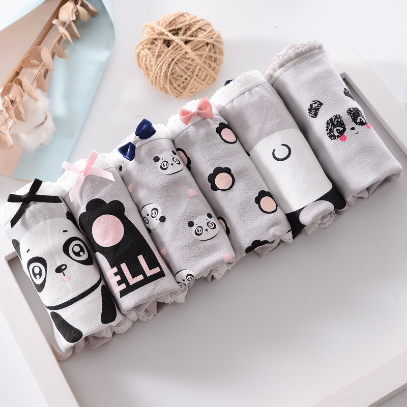 2019 Calcinhas Adolescentes Panda Impresso Cuecas Jovens Cuecas Menina Confortável Cinza de Algodão Calcinhas Crianças Cueca Y515