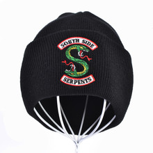 Cartoon embroidery Riverdale South Side Serpents Cosplay Hats Beanie Cap Women Men Winter Knitted Embroidery Hat crescent embroidery flanging knitted beanie