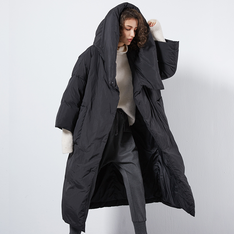 XS-7XL Plus Size Winter Over The Knee Longer Fluffy Duck Down Coat Female Oversized Hooded Thicker Warm Down Coats Wq124