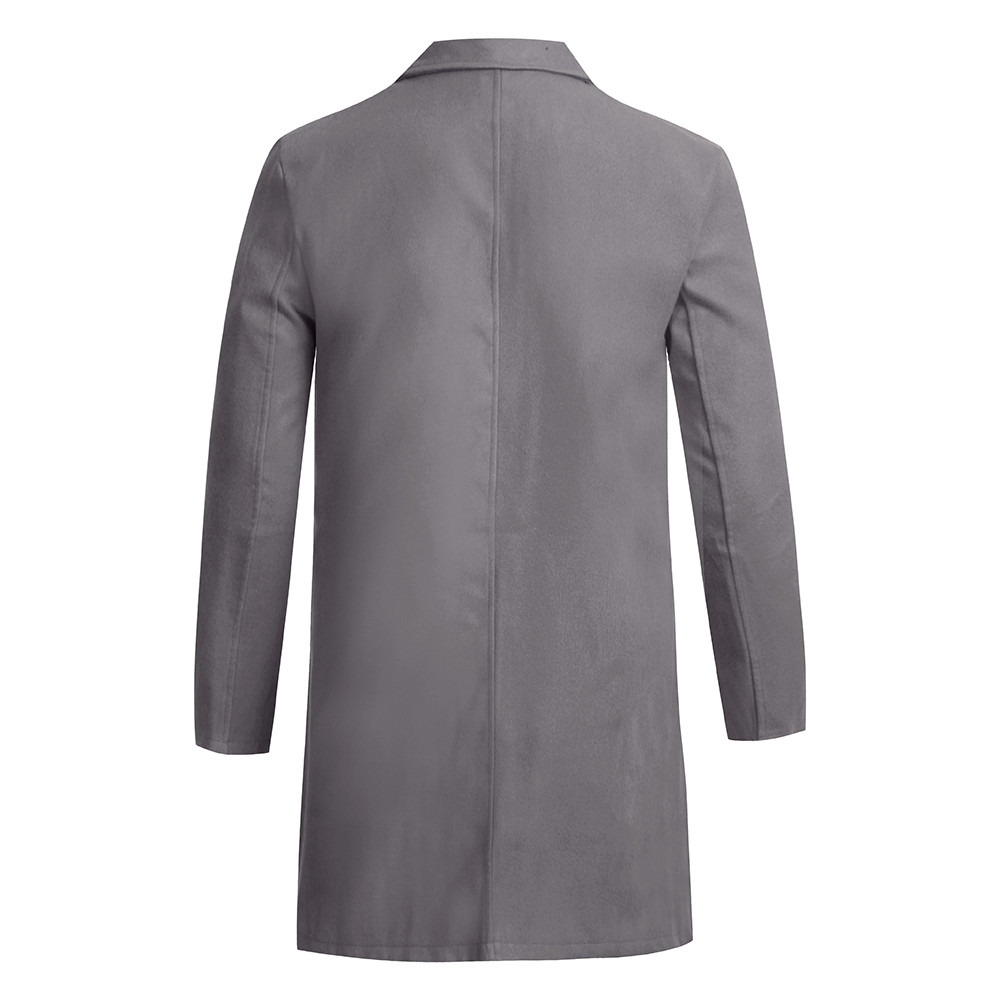 Men's Overcoat Fashion Autumn Winter Button Slim Long Sleeve Suit Jacket Trench Coat Casual high quality Mens Tops Blouse 020New 12