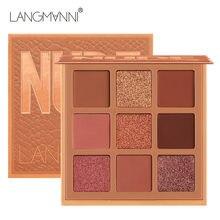 9 cores nude paleta de sombra de longa duração diamante brilho brilhante sombra de olho compõem pigmentado maquiagem kit cosméticos