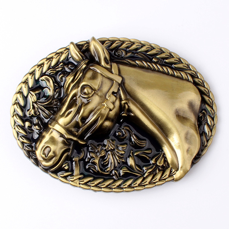 Fashion Western Men Belt Horse Buckle Golden Horse Head Pattern Horseshoe Cowboy Dress Accessories Only Buckle
