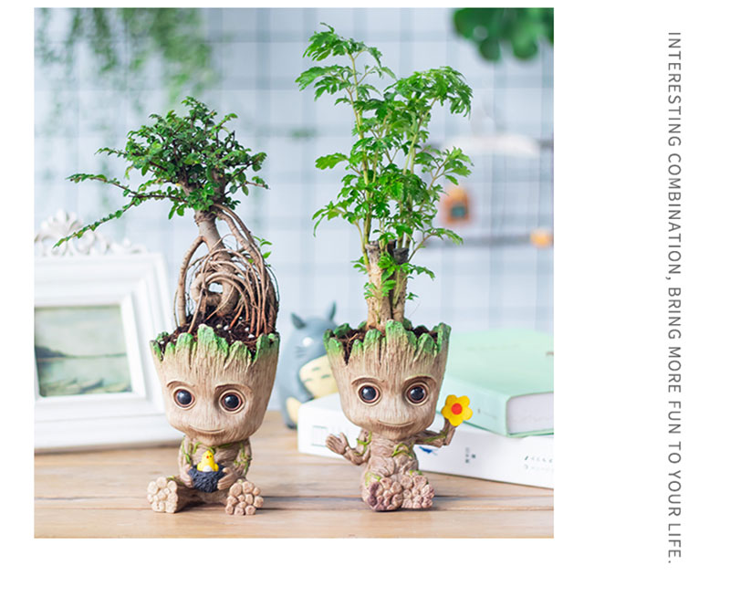 Flower Pot Baby Groot Big Flower Pot Cute Toy Pen Pot Holder PVC Hero Model Baby Tree Man Garden Plant Pot Groot Home Decor