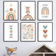 Alphabet Rainbow Gate Deer Sun Heart Cartoon Wall Art Canvas Painting Nordic Posters And Prints Wall Pictures Kids Room Decor