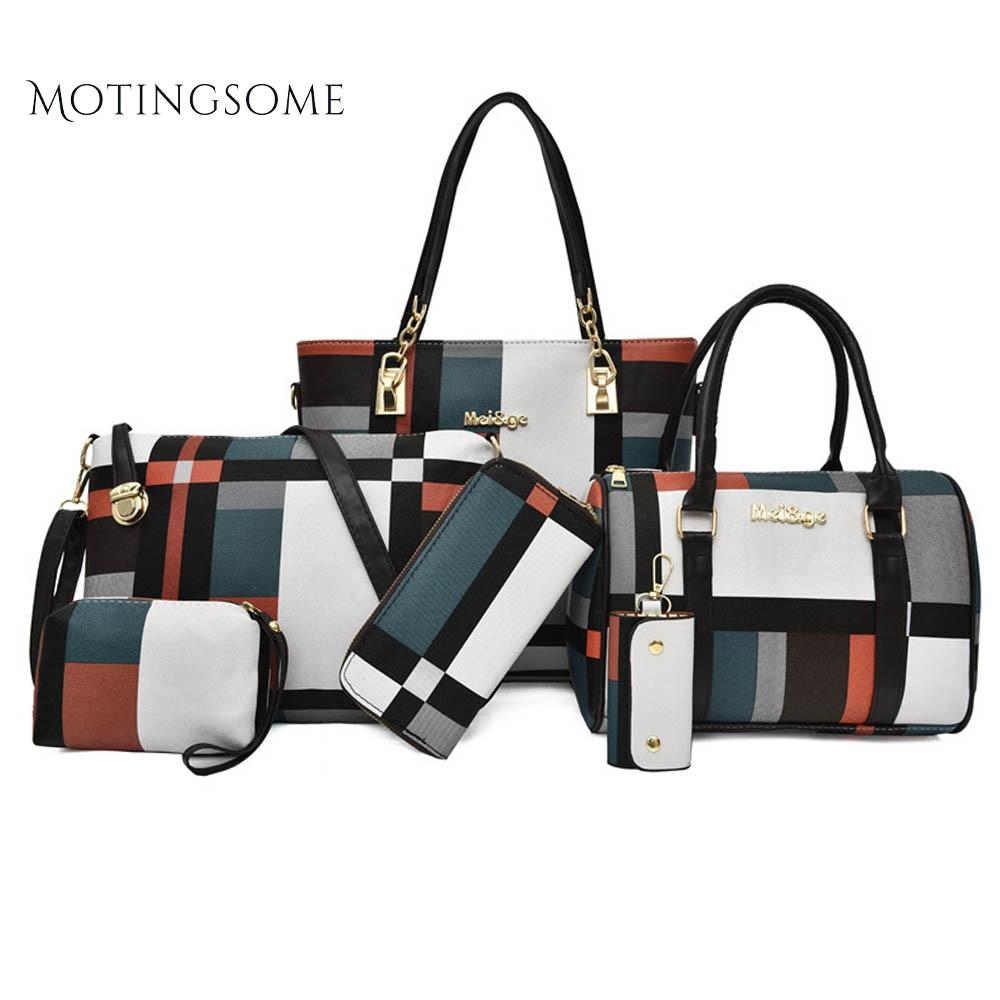 1set/6pcs Women Tote Bag Striped Leather Shoulder Messenger Shopper Bag Purse And Handbag Design Fashion Bags Ladies Luxury Bags