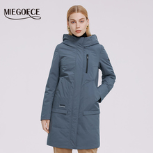 MIEGOFCE 2021 Spring Women Jacket Long Quilted Windbreaker High Quality Filling Waterproof Fabric Quilted Female Coat Blazer