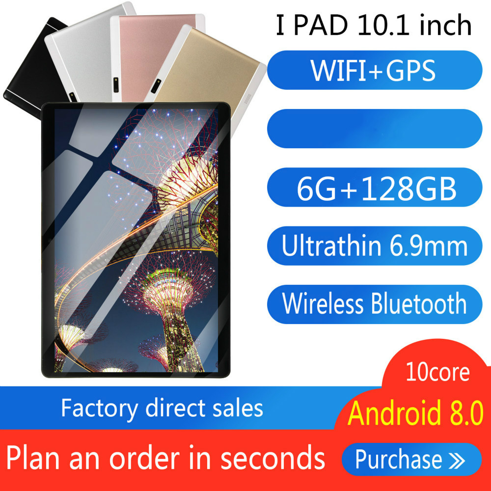 2020 New Android 8.0 Tablet 6G+128GB WiFi Tablet PC Dual SIM Dual Camera Bluetooth  4G WiFi Call Phone Tablet Gifts
