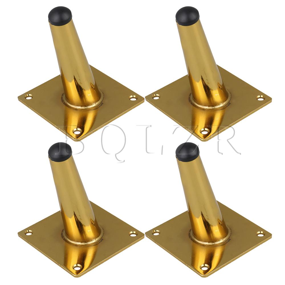 BQLZR 4PCS Stainless Steel Gold 10CM Slanting Furniture Feet For Table