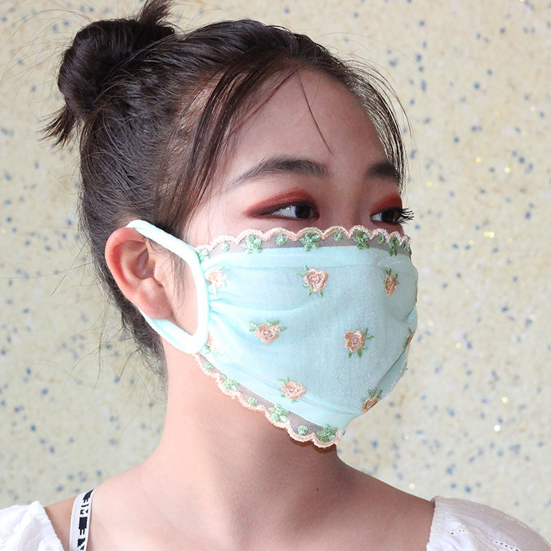 Women Floral Printed Mask Made With Lace Material For Travel Protection 5