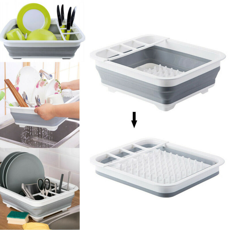 Kitchen Foldable Dish Drainer Collapsible Large Folding Bow Dish Draining Board Plates Cutlery Stand Racks