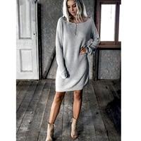 Новое модное женское платье с круглым вырезом и длинным рукавом, однотонное свободное платье, повседневное теплое зимнее мини-платье
