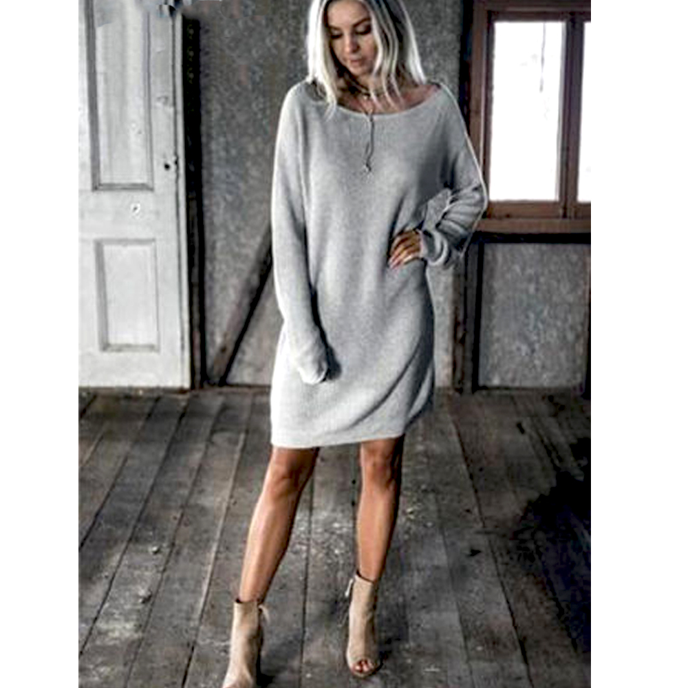 New Fashion Women O Neck Long Sleeve Dress Solid Color Loose Dress Ladies Casual Warm Mini Dress Winter