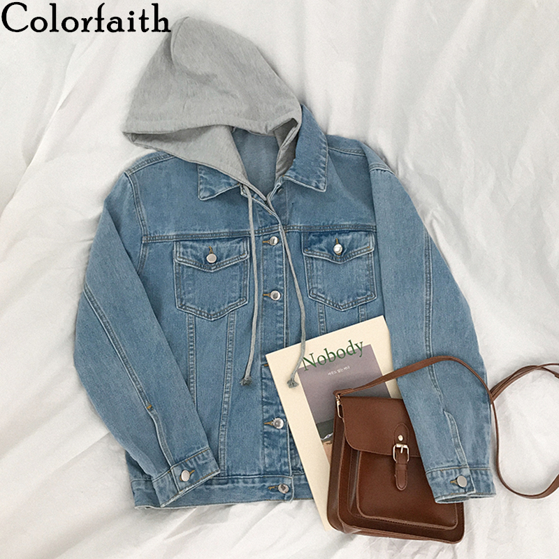 Colorfaith New 2020 Autumn Winter Women Denim Jacket Outerwear Hooded High Street Fashionable Korean Style Jeans Tops JK8303