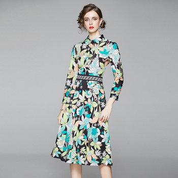 Design Dress Autumn Women Fashion Plus Size Elegant Casual Vintage Dress Full Sleeve Lapel Printed Midi Luxury Party Dresses dana kay women s plus size scarf fit and flare midi dress