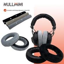 NullMini وسادات أذن مخملية ، سماعة رأس بديلة لسماعات Beyerdynamic MMX300 ، أسود ورمادي