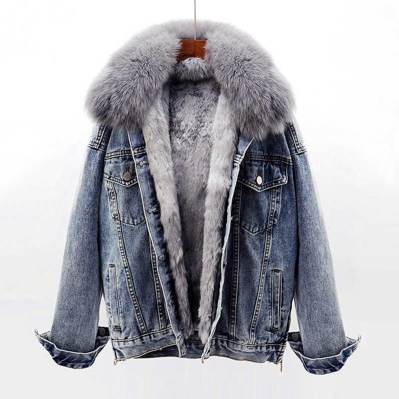 Winter Thick Warm Jeans Jacket Women Outwear Fox Fur Collar + Removable Rabbit hair Liner Denim Jacket Female Loose Parkas Mujer