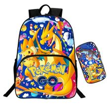 Anime Pokemon Cosplay Nylon Printing Backpack 2pcs/Set Cartoon Student School Shoulder Bags Pen Bag Pencil Case Gift