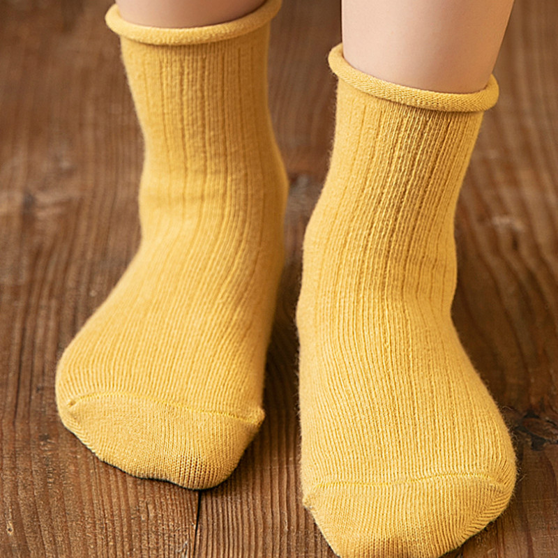 0-12y Baby Cotton Socks Kids For Boys And Girl Autumn Winter Short Socks Solid Color Ribbed Baby Socks