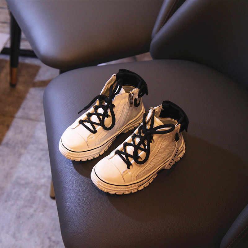 ฤดูใบไม้ร่วงใหม่เด็กกีฬารองเท้าผ้าใบเด็กลำลองรองเท้าผ้าใบเด็กหญิงรองเท้าสีดำชายยี่ห้อ Chunky รองเท้าผ้าใบ Mesh Trainers