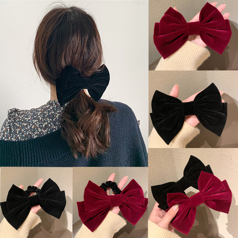 Ruoshui Woman Velvet Hairpins Bowknot Hair Ties Solid Korean Style Hairgrip Girls Hair Clips Fashion Hair Accessories Ornaments