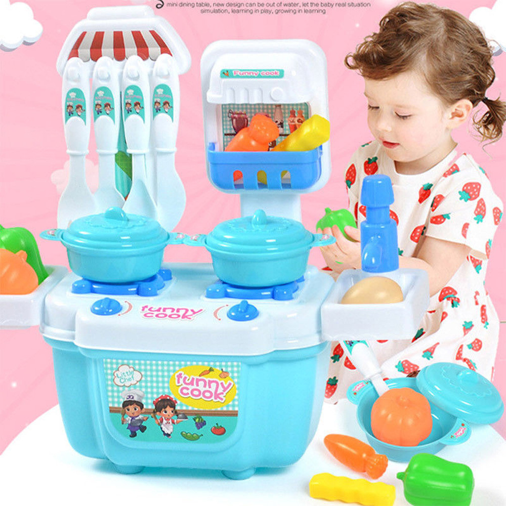 Microwave Tableware Cooking Toys Simulation Cookware Kitchen Utensils Cooking Tools Toy Cookware Playset for Children Blue and Pink 22PCS