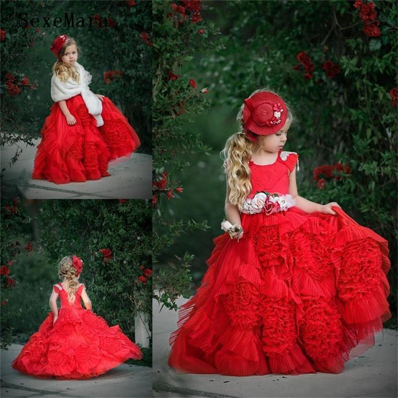 Dollcake rouge volants fleur fille robes avec ceintures dentelle robe de bal Tutu Boho mariage Vintage plage petites robes de bébé