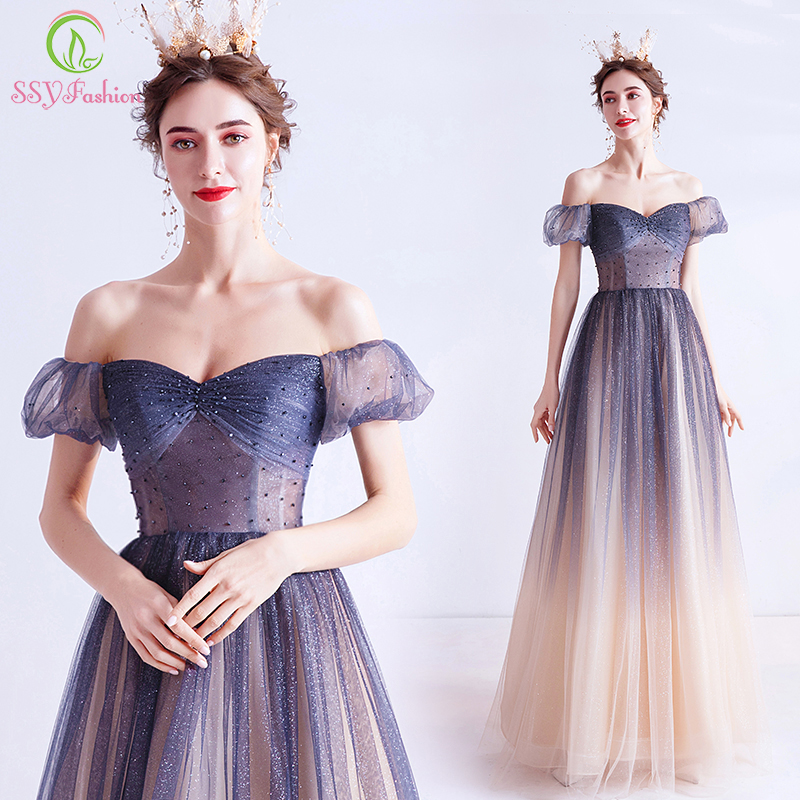 SSYFashion New Romantic Princess Shining Gradient Blue Evening Dress Elegant Sequins Beading Floor-length Long Party Formal Gown