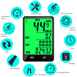 """Image 2 - 2.8 """"Ciclocomputer Senza Fili Wired Bike Computer Impermeabile Tachimetro Contachilometri Cronometro Per Accessori Per il ciclismo 2.0 opzione"""