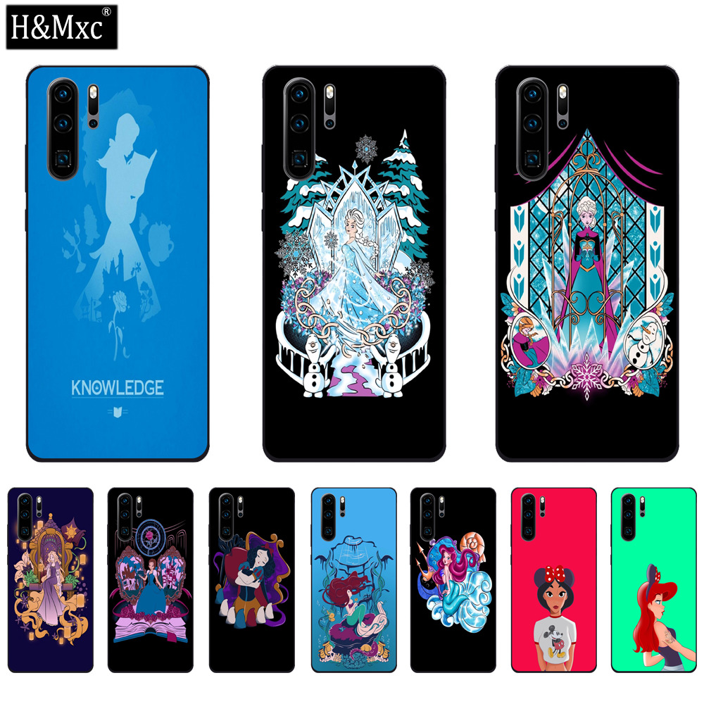 Beautiful Disney Princess 2 Tempered Glass Phone Case For Huawei P30 Lite Back Cover Shell Pouch Coque Bumper For Huawei P30 Pro