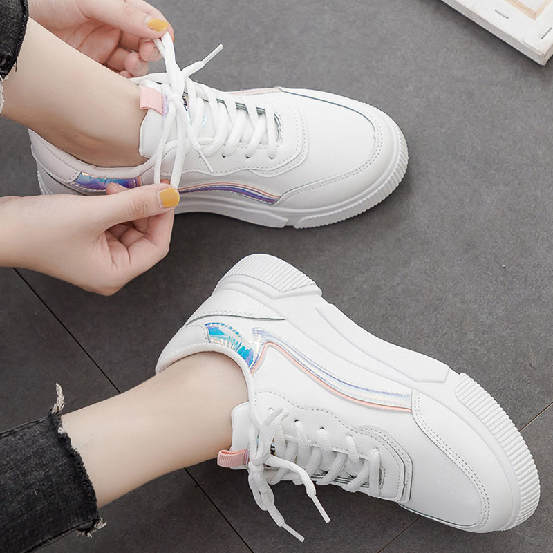 Platform White Sneakers Women Vulcanized Shoes Woman Thick Bottom Reflective Sneakers Casual Shoes Lace Up Ladies Flat Shoes