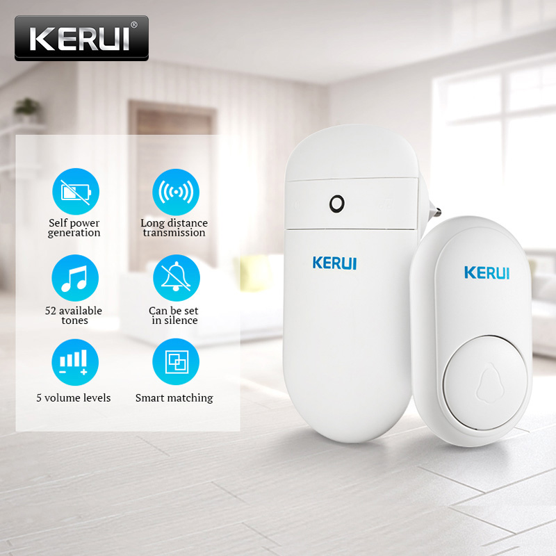 KERUI M518 Home Welcome Chime Doorbell Wireless Smart Ring Doorbell Self-generation No Battery Button 52 Songs Optional
