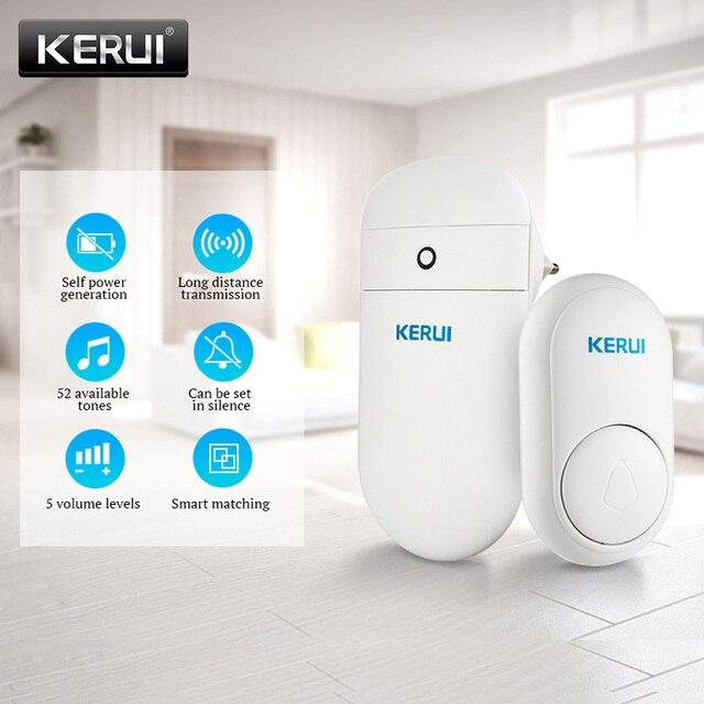 KERUI M518 ev karşılama zili kapı zili kablosuz akıllı halka kapı zili kendi kendine nesil hiçbir pil düğmesi 52 şarkılar isteğe bağlı