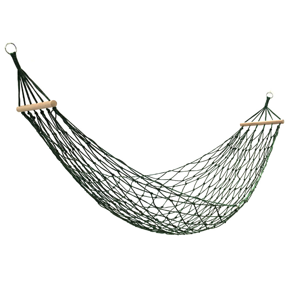 With Short Wooden Stick Single Double Nylon Rope Mesh Hammock Swing Outdoor Indoor Dormitory Dormitory Adult Children's Hanging