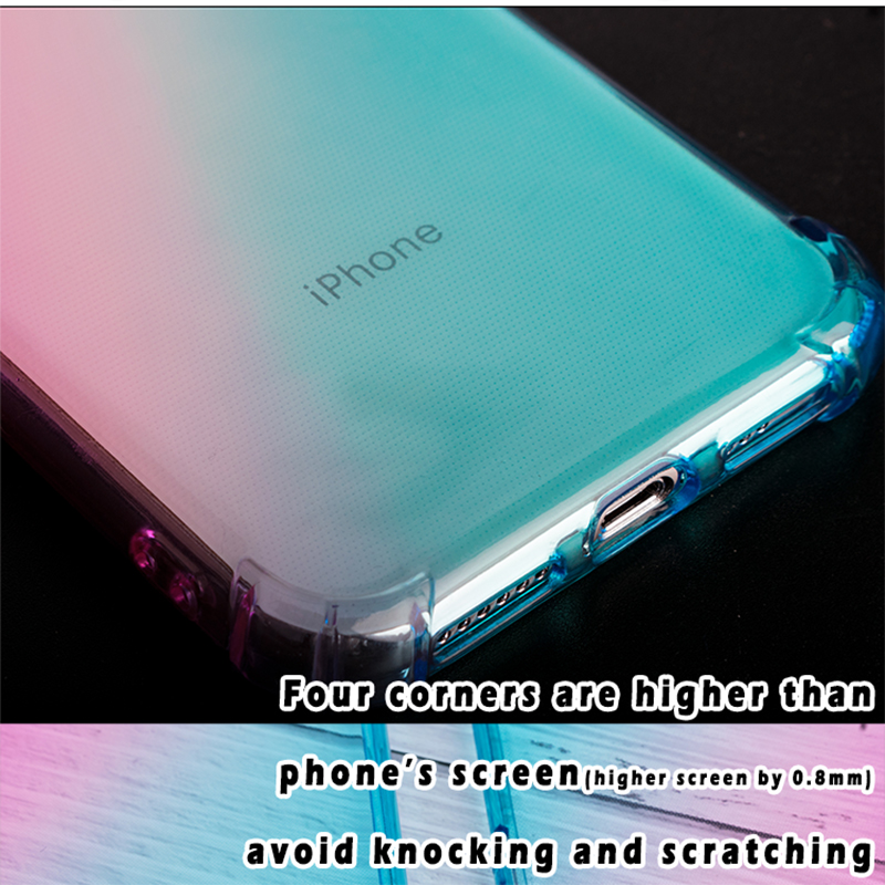 Gradient Mobile Shockproof Silicone Phone Case For iPhone 7 8Plus 8 Plus XS Max XR 11 Case Transparent Protection Back Cover Cas