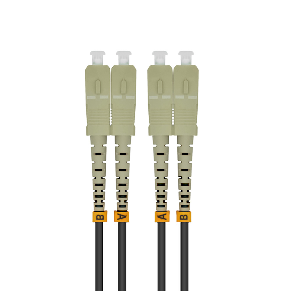 Outdoor Armored 50Meters SC-SC Duplex 10 Gigabit 50/125 Multimode Fiber Optical Cable OM3 Black 10GB SC To SC Patch Cord Jumper