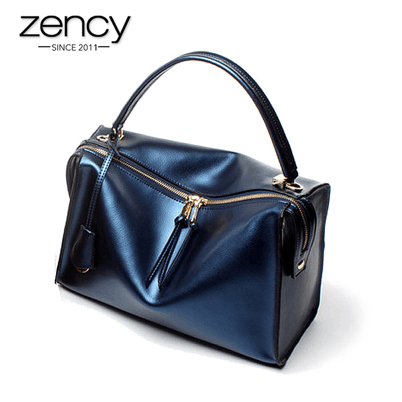 Zency 100% Genuine Leather Luxury Women Handbag Large Capacity Casual Tote Lady Shoulder Messenger Bag Fashion Shopping Bags