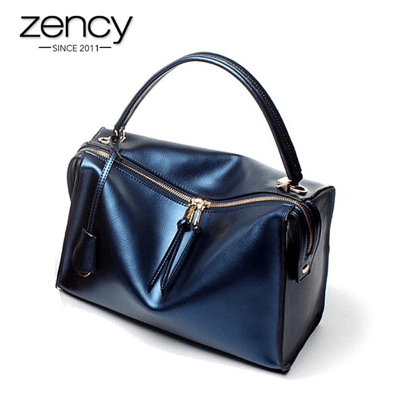 Zency 100% Genuine Leather Luxury Women Handbag Large Capacity Casual Tote Lady Shoulder Messenger Bag Fashion Shopping Bags