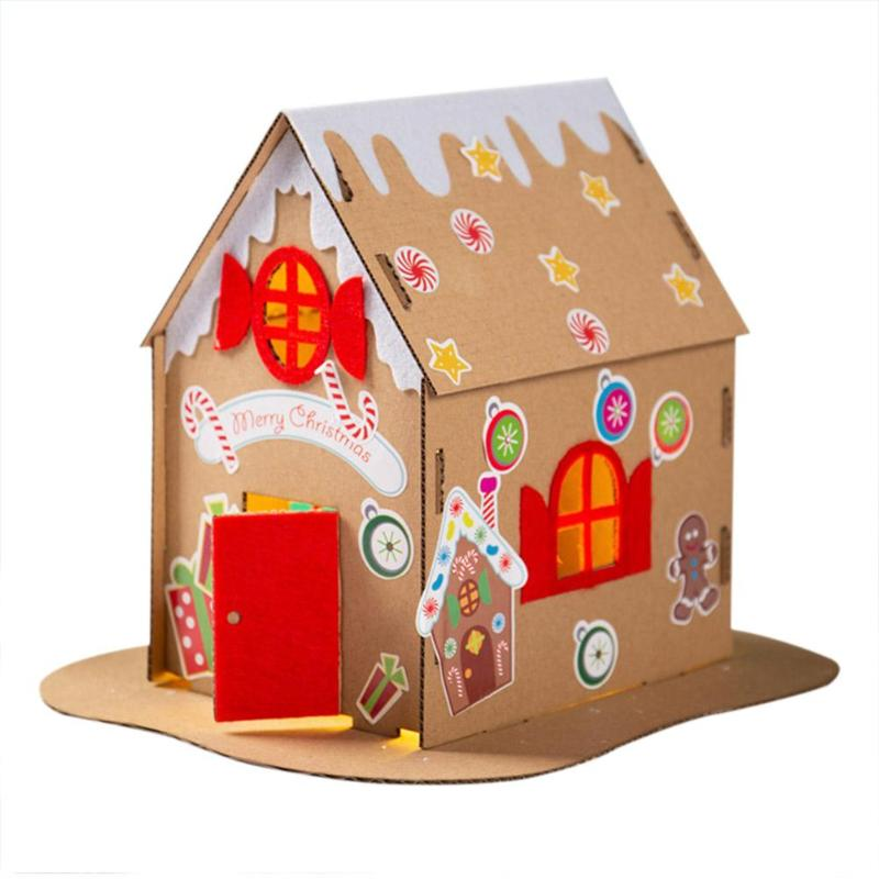 Kids DIY Assemble Christmas House Stimulate Visual Development Added Interest Non-woven Fabric Wreath DIY Christmas Decorations