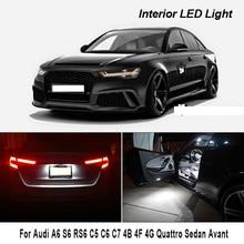 Для Audi A6 S6 RS6 C5 C6 C7 4B 4F 4G Quattro седан Avant светодиодный Подсветка салона Карта купольная лампа багажника комплект Canbus без ошибки лампы