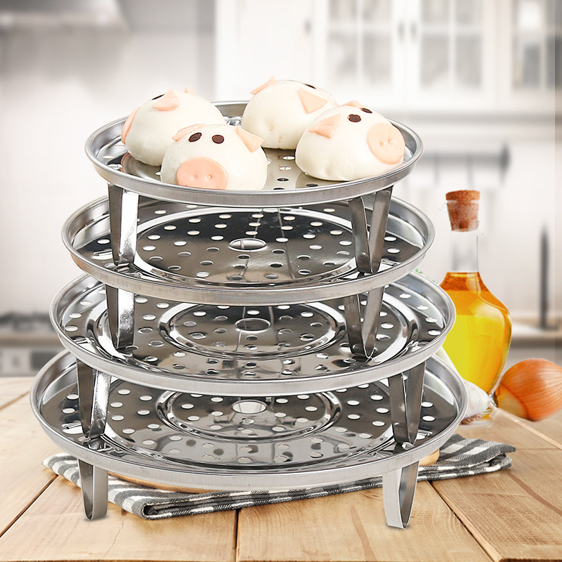 Kitchen Stainless Steel Waterproof Steaming Rack Multi-functional Thick Three-Legged Steamer Rack Circle Deconstructable Single
