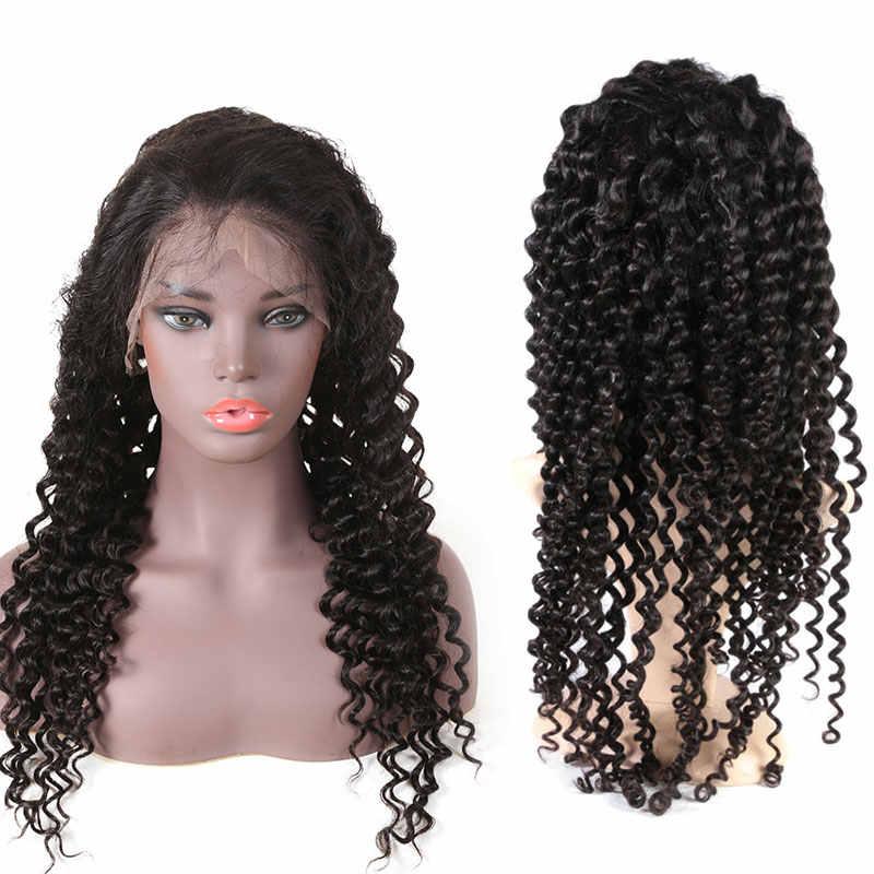 """Ali queen 13x6 парик фронта шнурка натуральный цвет 8 """"-26"""" высокий коэффициент 8A бразильский глубокая волна вьющиеся Remy человеческие волосы парики для женщин"""