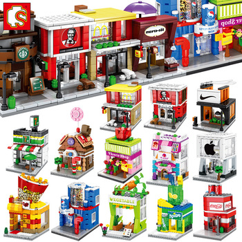 Sembo Building Block Mini City Street Store Building Bricks Chinatown Series Educational Kid Toy xingbao 01202 1500pcs the new romantic heart set with light usb building block bricks educational toy valentine s day legoingys