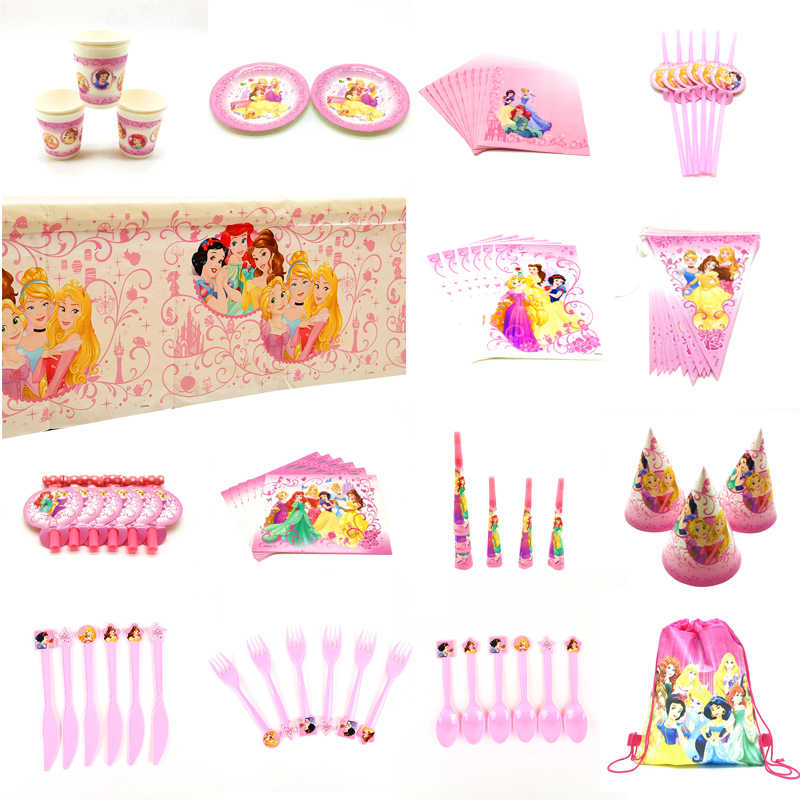 Disney Zes Prinses Serie Sneeuwwitje Assepoester Aurora Belle Verjaardag Party Decor Girls 'Party Servies Set Ballon Levert