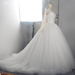 Image 2 - RSW1549 Robe De Mariee Illusion Back Buttones Flower Dress Princess Full Sleeves Wedding Gowns