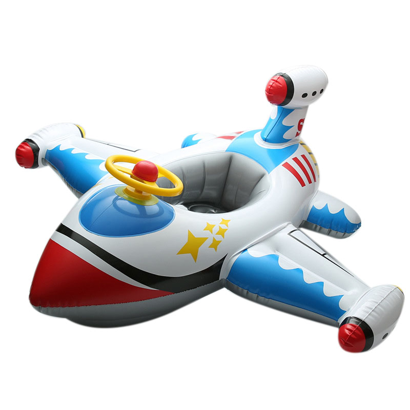 Children'S Swim Ring Children'S Big Airplane Swim Ring With Steering Wheel Seat Thick Padded Boat Inflatable Airplane Swimming