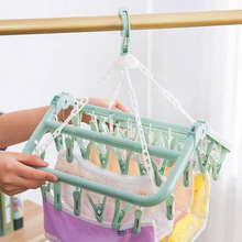 Clothes Hanger Foldable Household Childrens Plastic Multi-clip Socks Underwear