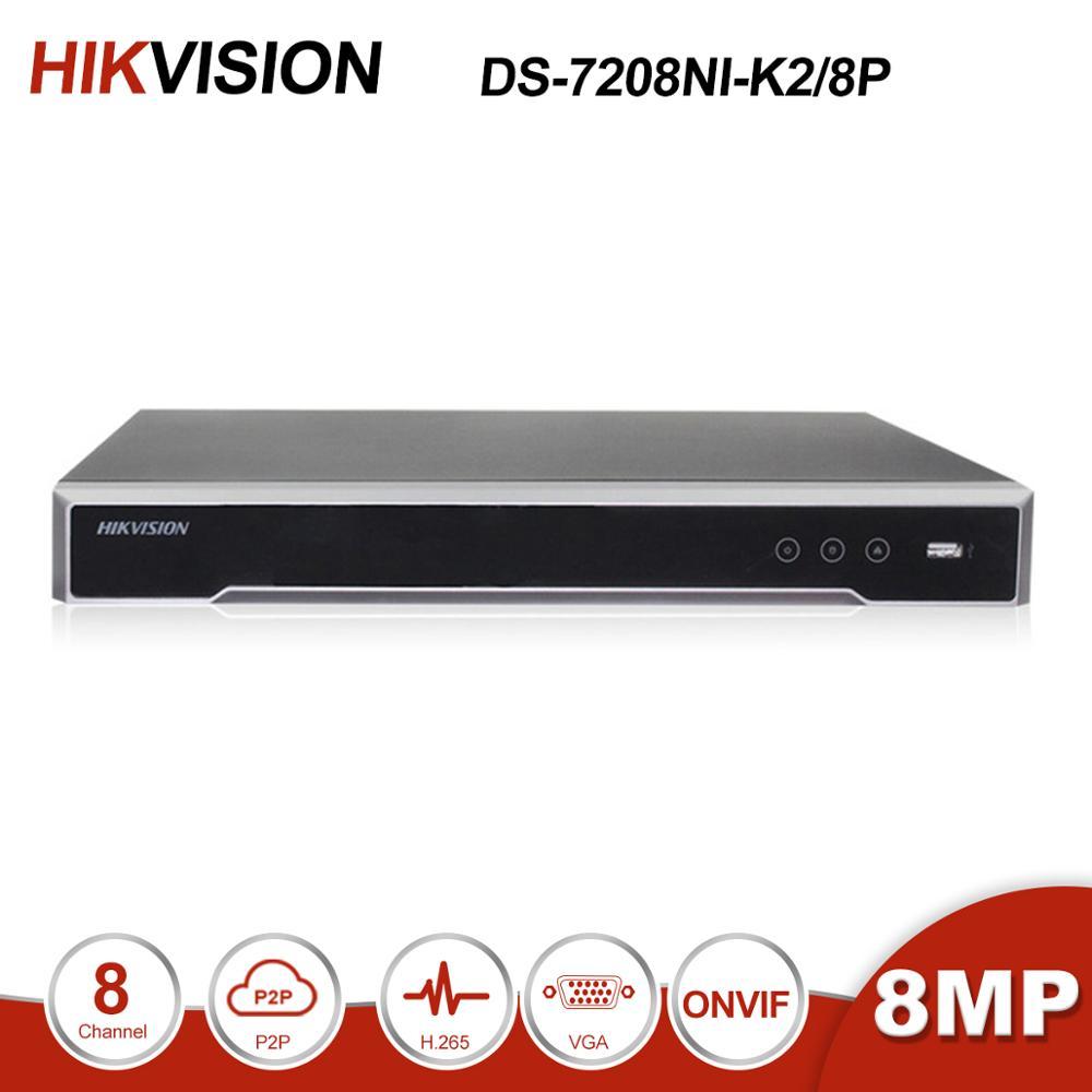 Оригинальный Hikvision DS 7608NI K2/8 P DS 7616NI K2/16 P 8MP H.265 NVR 8CH/16CH сетевой видеорегистратор с POE портами