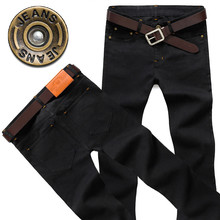 Mens Straight Jeans Pants Slim Fit Fashion Black Trend  Moto Winter Denim Distressed Trousers