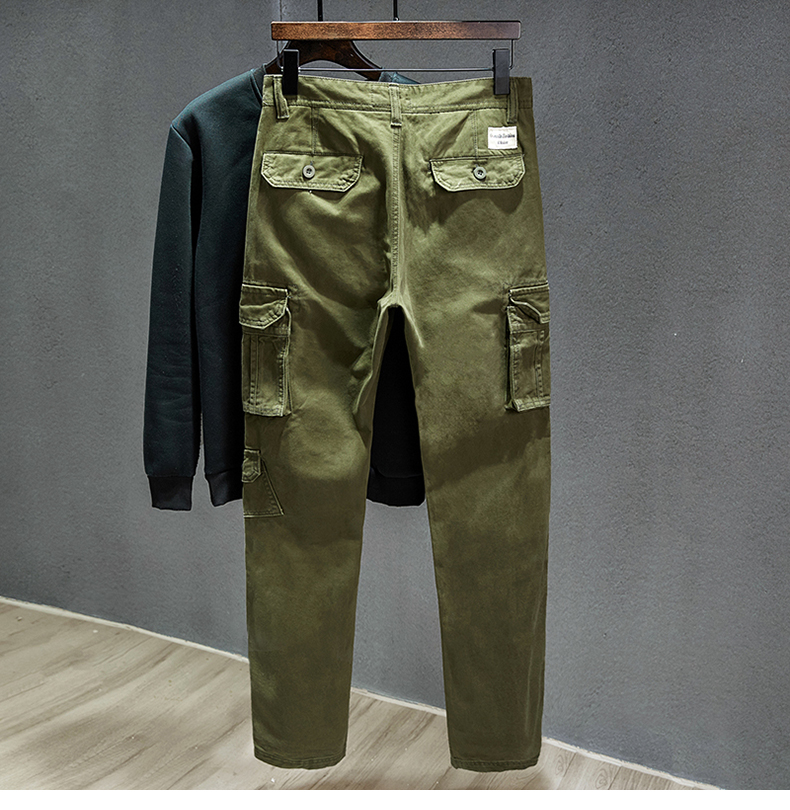 KSTUN Cotton Cargo Pants Men Straight Cut Tactical Military Overalls Multi Pocket Camouflage Pants Khaki Pants Man Trousers Sweatpants 14